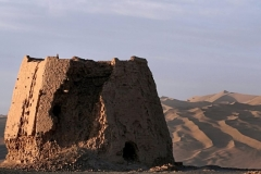 Chinese watchtower made of rammed earth at Dunhuang, Gansu province